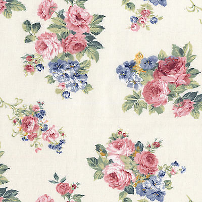 COTTON-CURTAIN-FABRIC-VINTAGE-SHABBY-ROSE-FLORAL-PINK