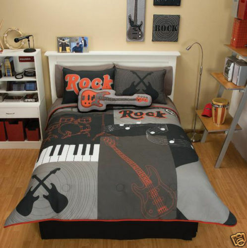 boys teens grey red guitar comforter bedding set twin 7 ebay. Black Bedroom Furniture Sets. Home Design Ideas