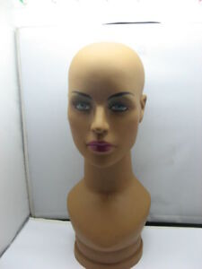 1X Coffee Bald Female Mannequin Head Bust Necklace Display