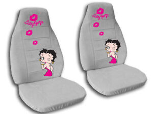 2 cute pink betty boop car seat covers velour silver ebay. Black Bedroom Furniture Sets. Home Design Ideas