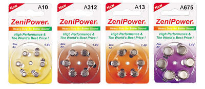 240 Size 10, 13, 312, 675 Zenipower Hearing Aids Aid Batteries