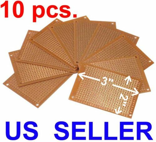 "10 Pcs 2 x 3""  (5x7cm) DIY PCB Prototyping Perf Circuit Boards Breadboard Kit"