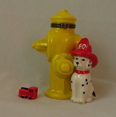 Dalmatian & Fire Hydrant Porcelain Hinged Box w/ Mini Fire Truck Figurine PHB