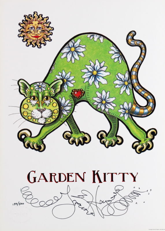 GARDEN KITTY Jamie Hayes CAT kitten DAISY SUN Art PRINT FLOWERS