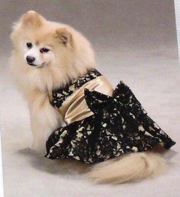 Zack & Zoey Dog Lace Satin Dress Gold Black Teacup