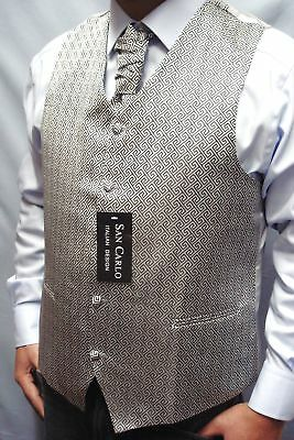 NEW MEN`S SILVER WEDDING WAISTCOAT SETS (3 ITEMS) SIZES