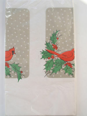 Vintage Contempo Cardinal Bird Holly White Paper Embossed Border Tablecover