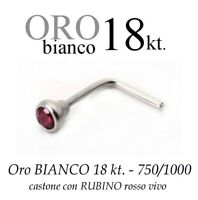 Piercing Naso In Oro Bianco 18kt.con Rubino Rosso Vivo -  - ebay.it
