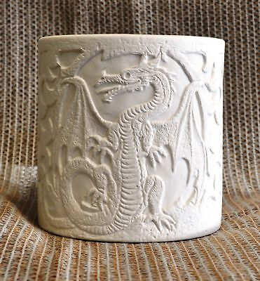 Ceramic Bisque Dragon Planter Candle Holder Nowell 3019 U-Paint Ready To Paint