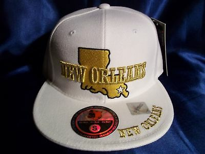 Orleans Fitted Size Medium M Ball Cap Hat In White H24