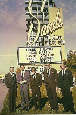 Las Vegas Nevada  Sands Hotel  Sinatra   Dean Martin   Sammy Davis Jr   Postcard