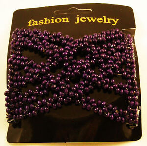 DOUBLE STRETCH BEADED HAIR COMB SOLID PURPLE NWT USA
