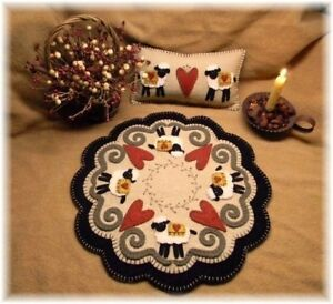 Penny Rug Candle Mat Pattern Valentine Sheep Amp Hearts