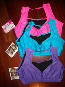 NWT-CAPEZIO-SPORTSBRA-3-COLORS-LADIES-XLge-Great-Support-Heavyweight-shiny-lycra