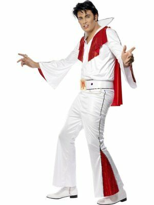 Officially Licensed Elvis Fancy Dress Costume White/red Medium 38-40 By Smiffys