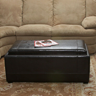 ... Picture 2 Of 4; Picture 3 Of 4; Picture 4 Of 4. 3pcs Brown Leather  Storage Ottoman Tray ...