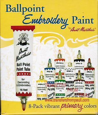 Aunt Martha's Primary Colors 8-pack Box Ball Point Embroidery Paints