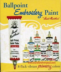 Aunt Martha's 8-Pack Box Ball Point Embroidery Paints