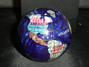 GEMSTONE-GLOBE-3-inch-Paperweight-Dark-Blue-w-box-WORLD-GLOBE