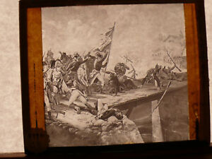 ORIG-ca-1890-Magic-Lantern-Glass-Slide-NAPOLEON-AT-THE-BRIDGE-OF-ARCOLE-in-1796