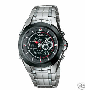 Casio-Men-039-s-Combo-Silvertone-Watch-100-Meter-WR-Low-Ship-EFA119BK-1AV