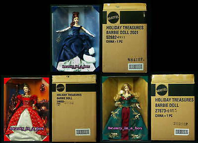 Holiday Treasures 1999 2000 2001 Red Head Shippers Barbie Collector's Club