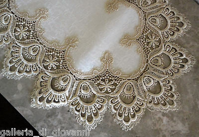"Delicate Gold Trim Runner Lace 34"" Doily  Estate Design Dresser Scarf"