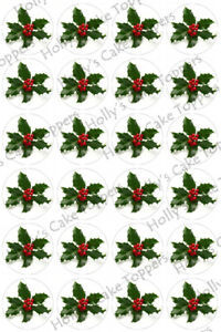 HOLLY-CHRISTMAS-CUP-CAKE-Rice-Paper-Photo-Toppers-x-24