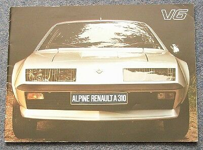 RENAULT ALPINE A310 V6 Brochure c1978 DUTCH #27.127.11