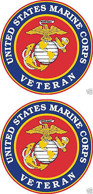 2 United States Marine Corps Veteran Window Decal USMC