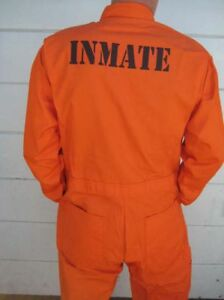 CUSTOM PRINTED Jail Inmate Orange JUMPSUIT Costume Halloween ...