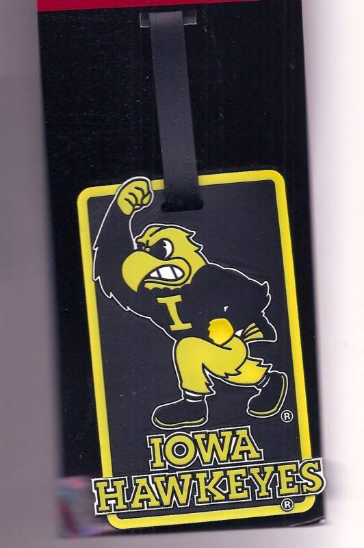 Iowa Hawkeyes Fighting Herky Hawk Id Tag Logo Rubber Luggage Travel Bag Tag