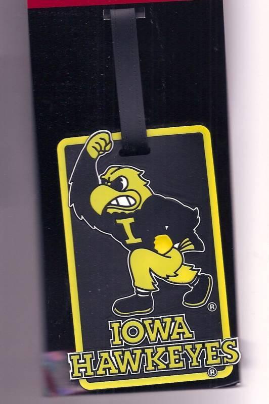 Iowa Hawkeyes Id Tag Travel Bag Tag Fighting Herky Hawk Logo Rubber Luggage Tag