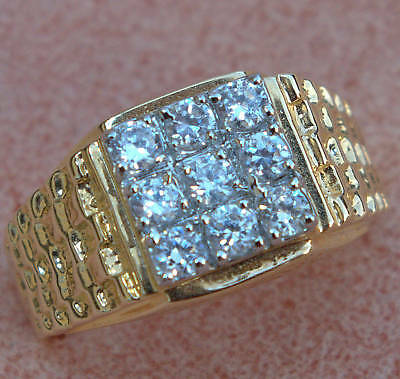 Alaskan Style Mens 9 Cz 3 Carat Nugget Ring 18k Gold Overlay Size 12