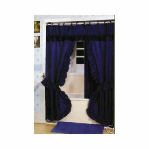 Double Swag Shower Curtain Liner Hooks Navy Blue EBay