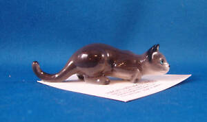 HAGEN RENAKER Porcelain Miniature Cat Kitten Figurines 3079 CROUCHING CAT