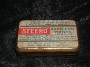 VINTAGE-1911-STEERO-BOUILLON-CUBES-NY-TIN