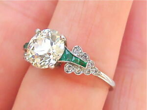 ESTATE-ART-DECO-1-8ct-EUROPEAN-CUT-DIAMOND-EMERALD-PLATINUM-ENGAGEMENT-RING