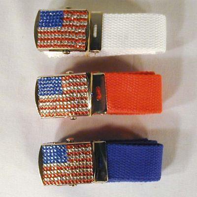 AMERICAN FLAG RHINESTONE BUCKLE W BELT jewel belts novelty womens ladies new