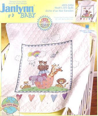 Cross Stitch Kit Noah's Ark & Animal Pairs Baby Quilt