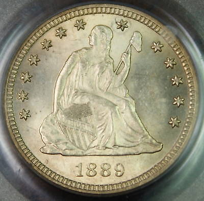 1889 SEATED LIBERTY SILVER QUARTER-PCGS MS-64