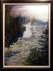 Dave-Iles-Montgomery-Falls-on-Canvas-Hand-signed-NR-Original-Painting-Art-OBO