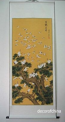 "Chinese Scroll Painting Wall Art Home Decor Crane Longevity 68""L AU23-06"