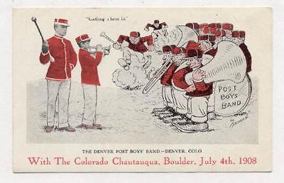 1908 Denver The Denver Post Boys Band Postcard Pc4914