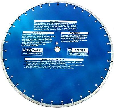20 Diamond Blade .187 Walk Behind Saws Cured Concrete For 65hp Saws