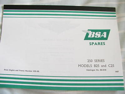 00-5133 looseleaf SPARE PARTS BOOK BSA B25 C25 1967 vital reference catalogue