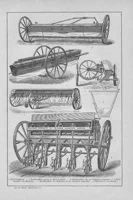 Sämaschinen Drillsaat Reihensaat HOLZSTICH von 1893