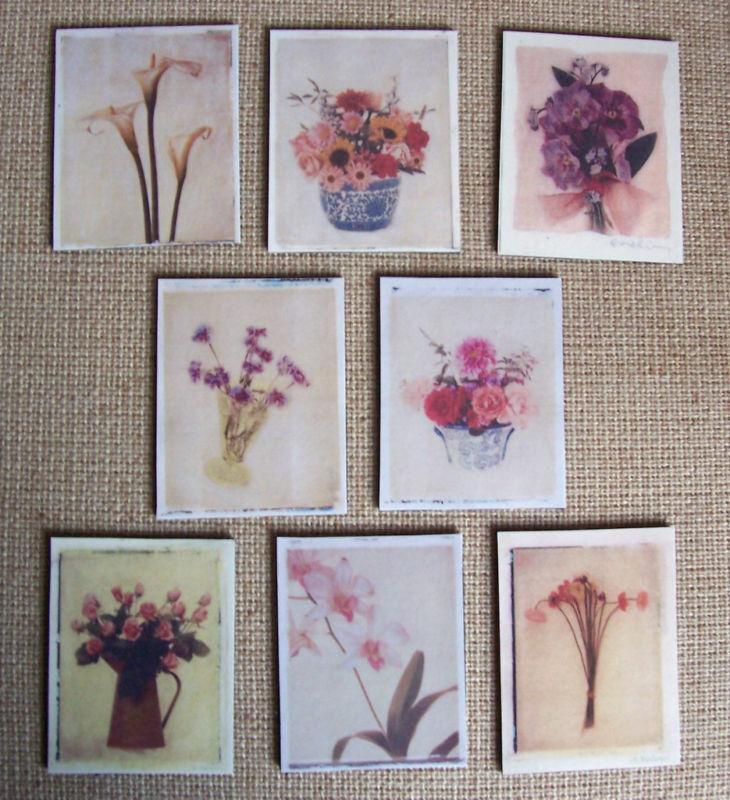Set of 8 Still-Life Flower Painting Refrigerator Magnets