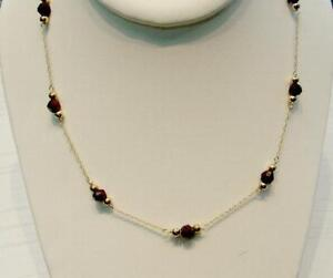 14k-Gold-Cut-Garnet-w-Gold-Bead-Necklace-Free-Ship