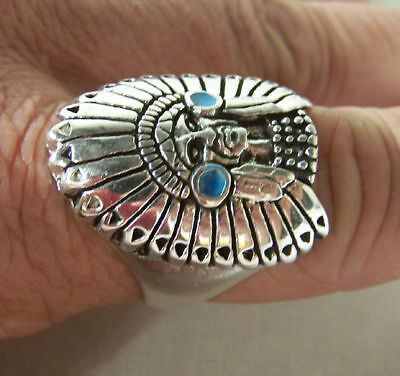 2 CHIEF W HEADRESS RINGS western biker gift ring BR86R MENS womens indian head